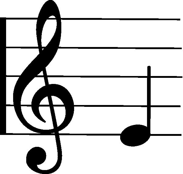 Treble clef e clip. Note clipart individual