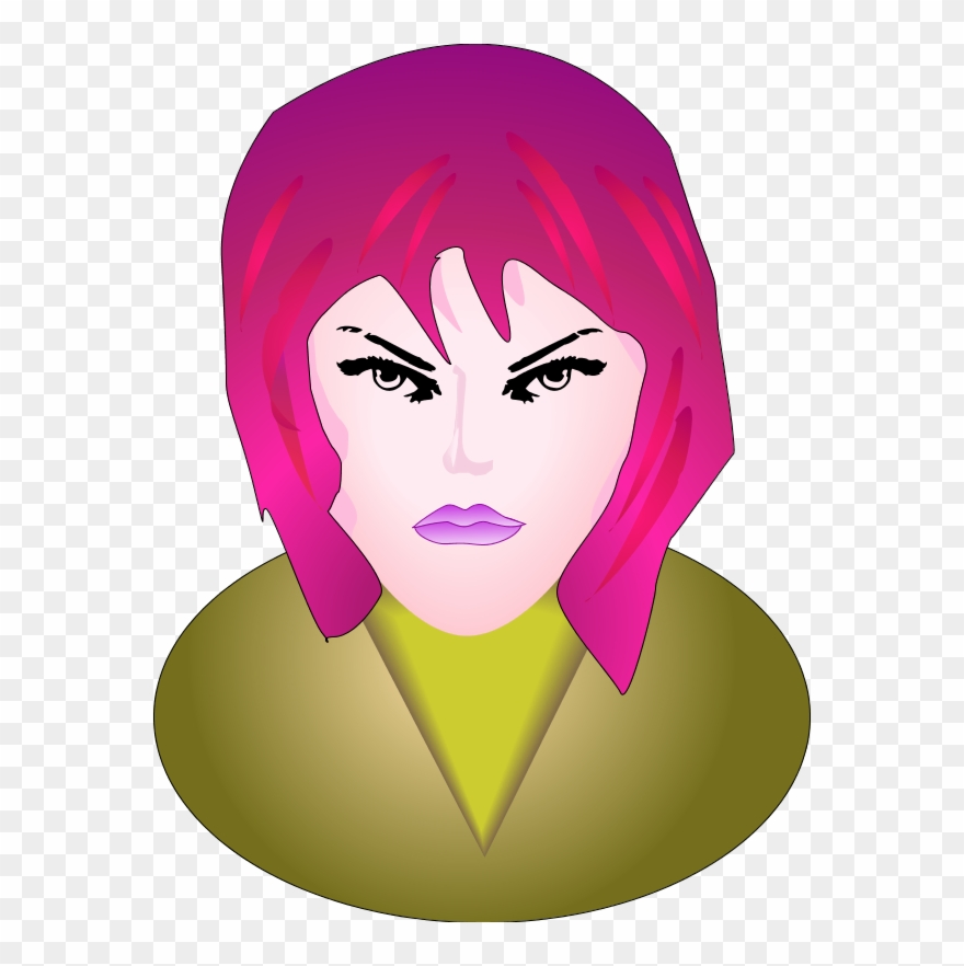 E clipart large. Woman angry face piccolo