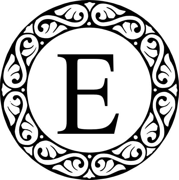 E clipart letter e. Monogram clip art at