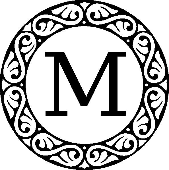 E clipart monogram. Letter m clip art