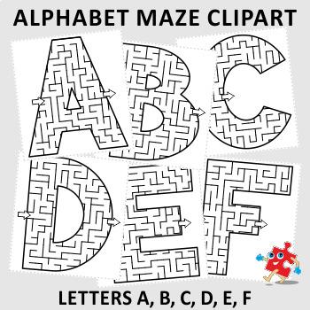 Alphabet letters a b. Maze clipart printable