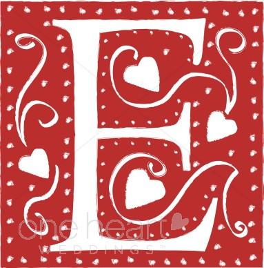 Wedding heart font . E clipart red letter