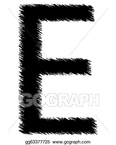E clipart single letter. Stock illustration scribble alphabet