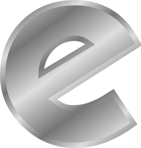 Effect letters alphabet silver. E clipart single letter