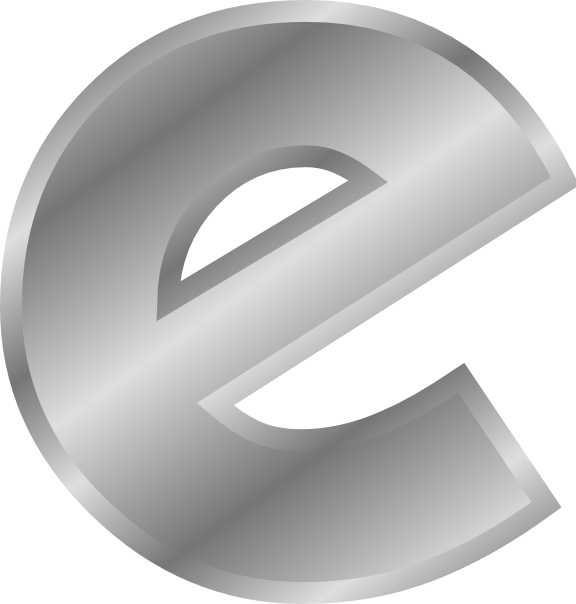 E clipart single letter. Effect letters alphabet silver