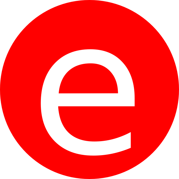 Red rounded with clip. E clipart small