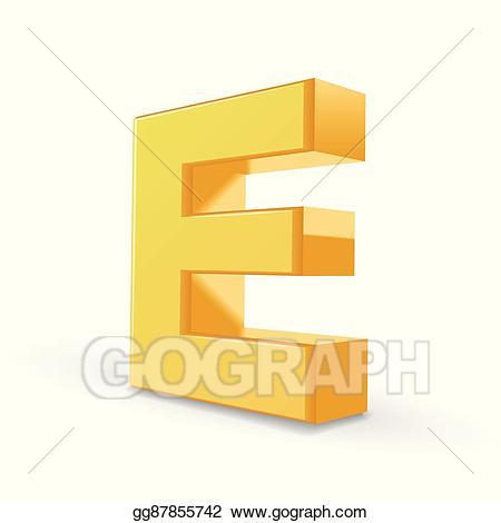 Eps vector d stock. E clipart yellow letter