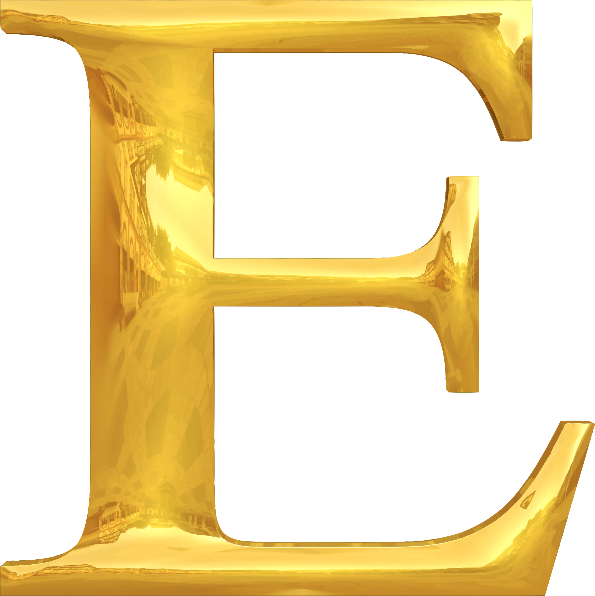 Gold typography big image. E clipart yellow letter
