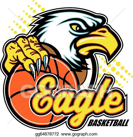 Eagle clipart basketball. Vector art with drawing