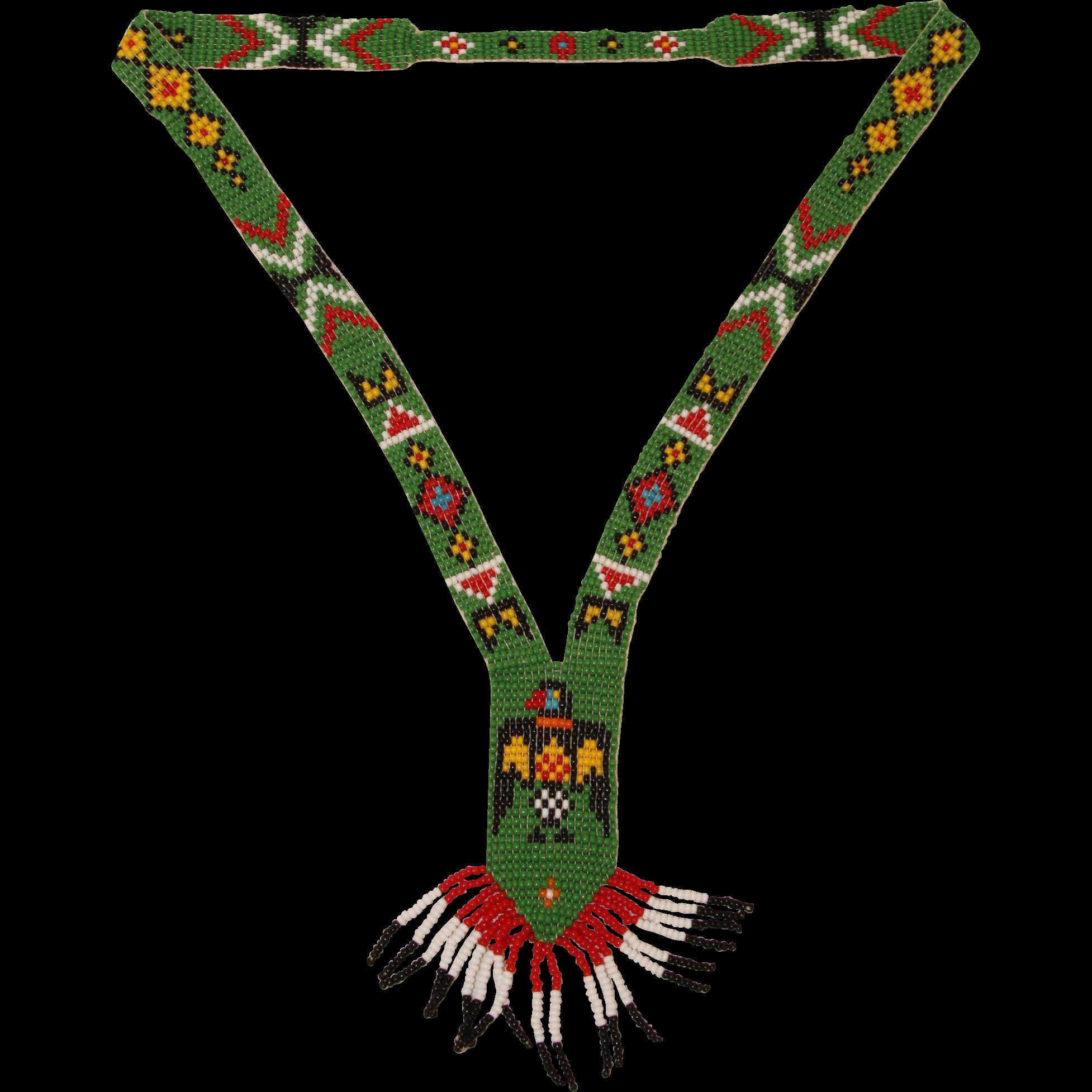 Handmade native american beadwork. Necklace clipart glass bead