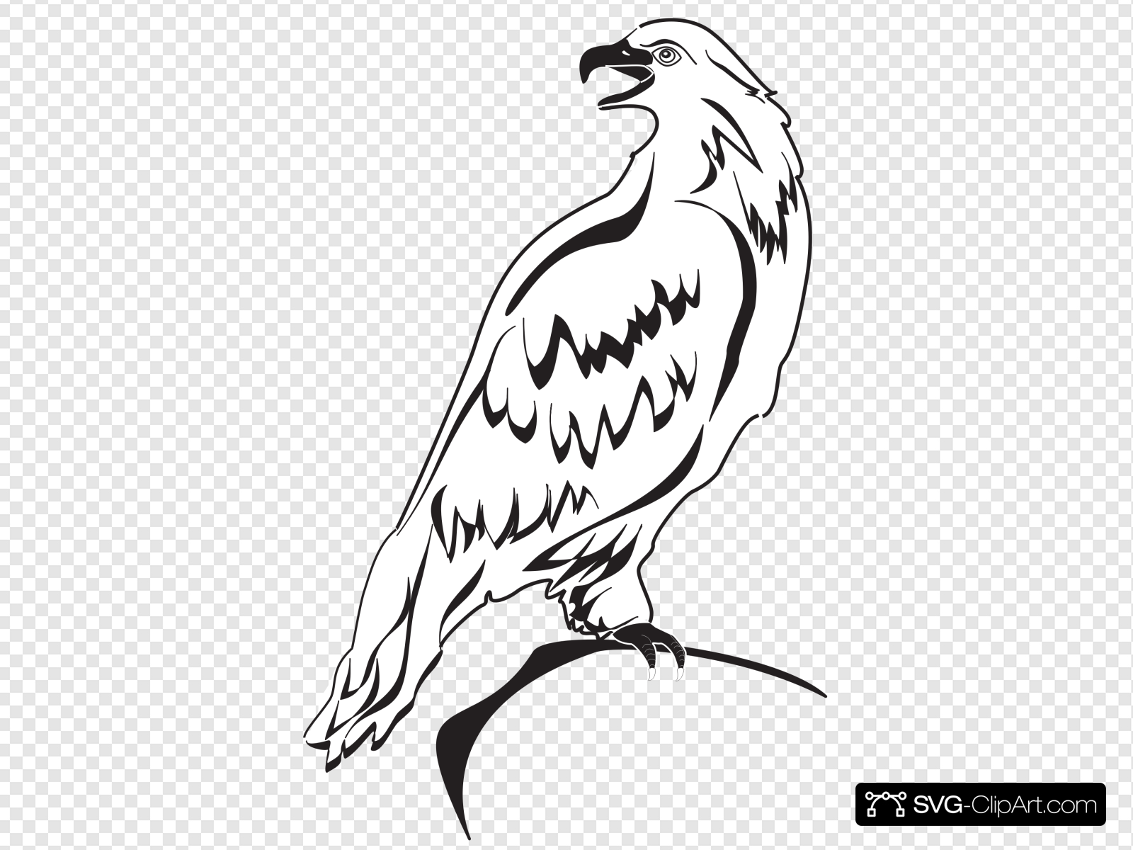 Outline clip art icon. Eagle clipart perched