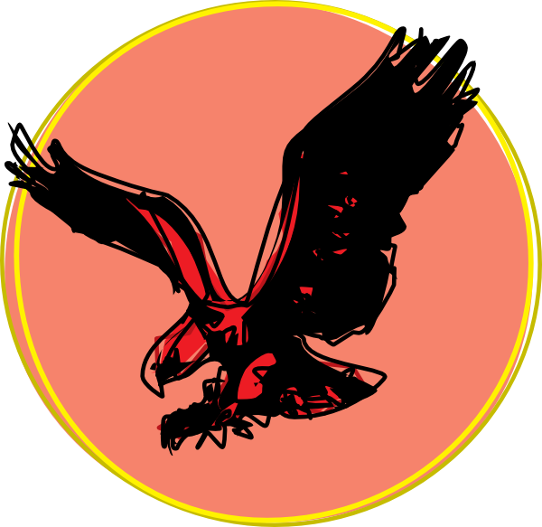 Eagle clipart red. Scribble with sun clip