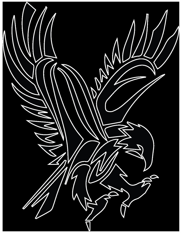 Black tribal flying hawk. Wing clipart stencil
