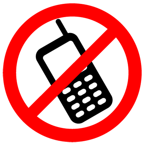 Telephone clipart sign. No cell phone panda