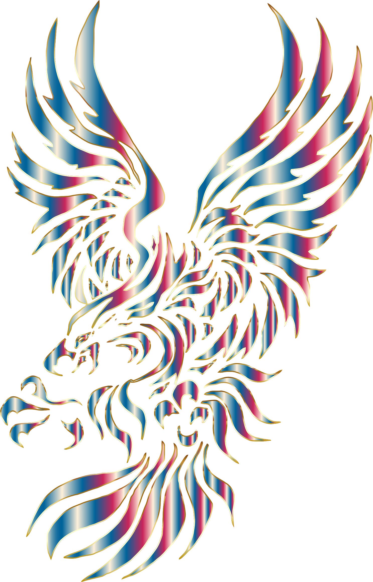 Chromatic eagle no background. Wing clipart tribal