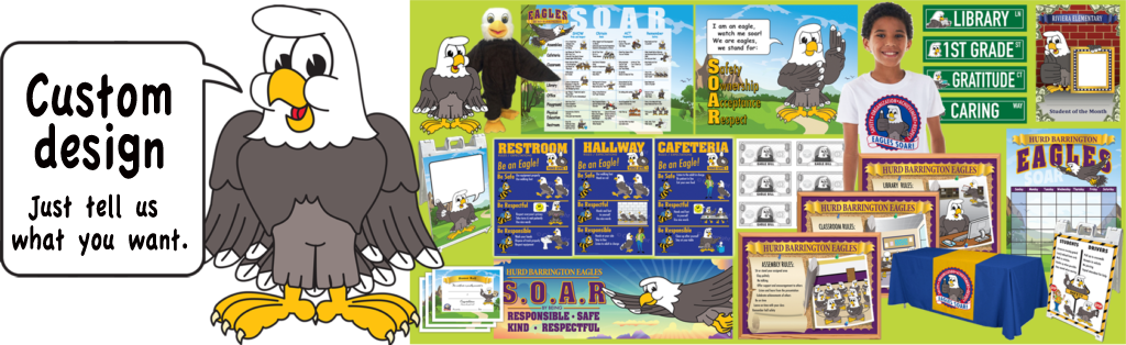 Eagle mascot junction kid. Organized clipart product safety