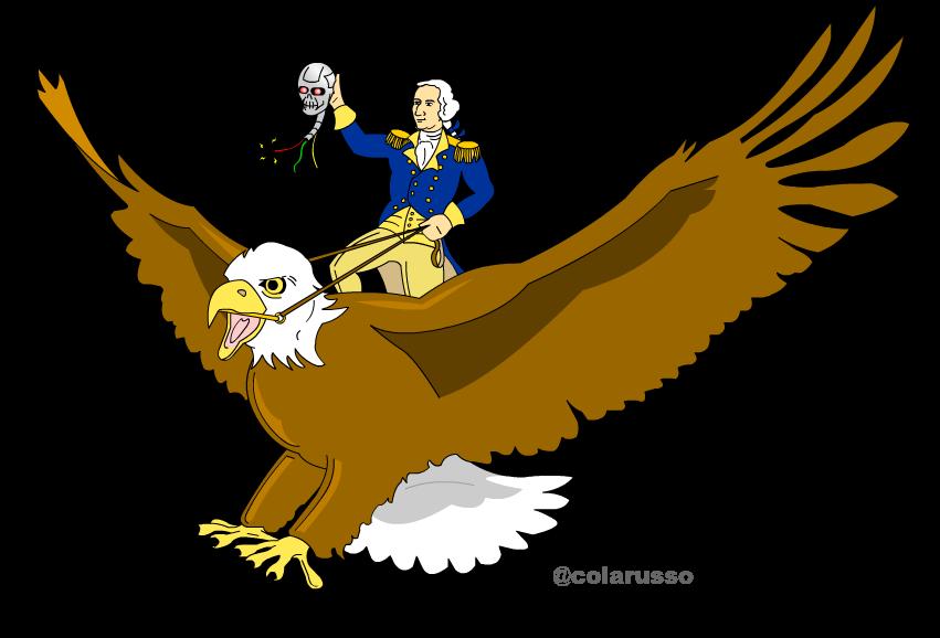 George washington riding atop. Eagles clipart sad