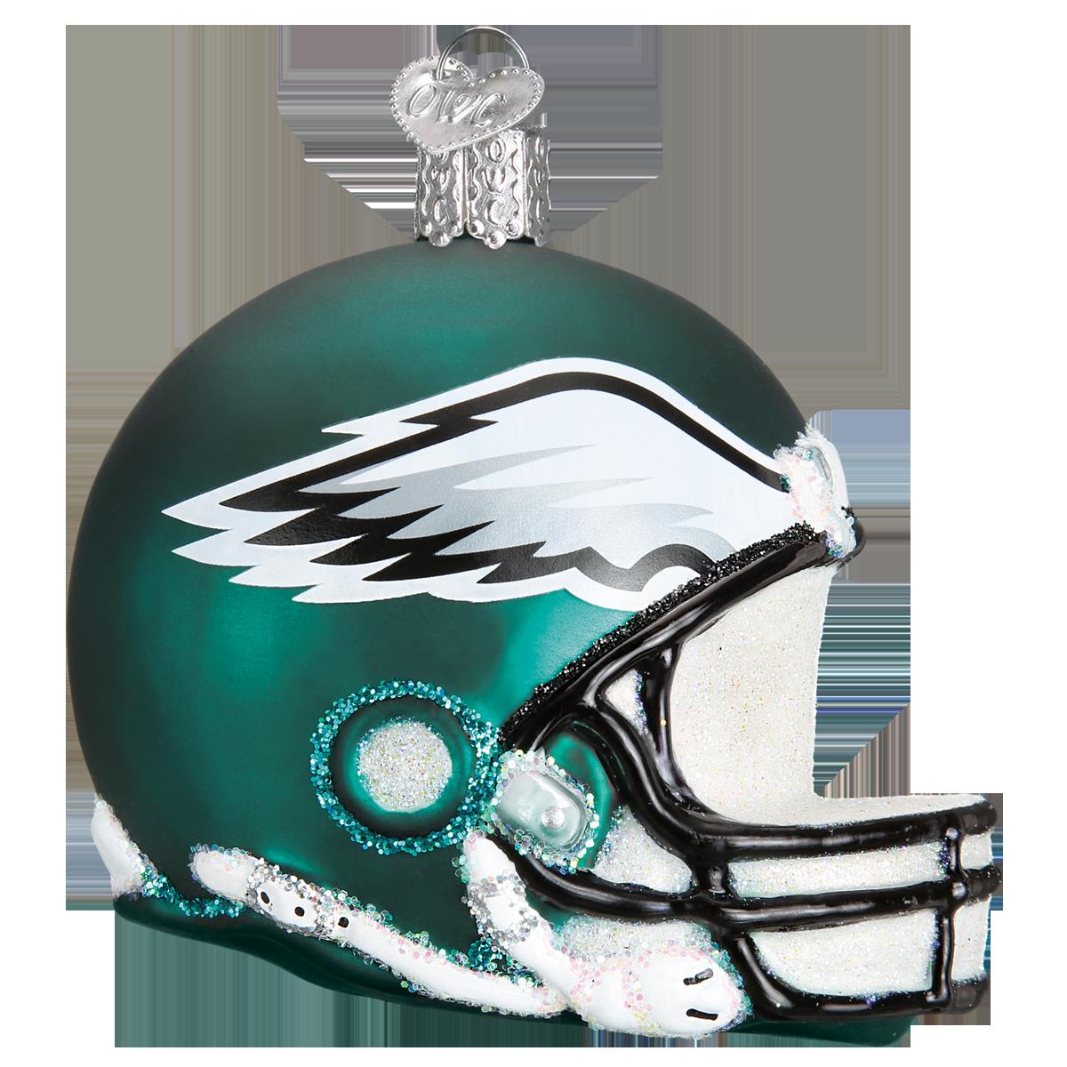 Eagles helmet png. Philadelphia football glass ornament