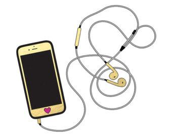 Iphone with headphones clip. Earbuds clipart