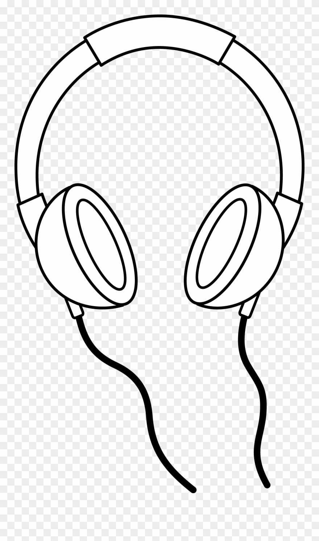 Headphone clipart black and white. Headphones line art clip