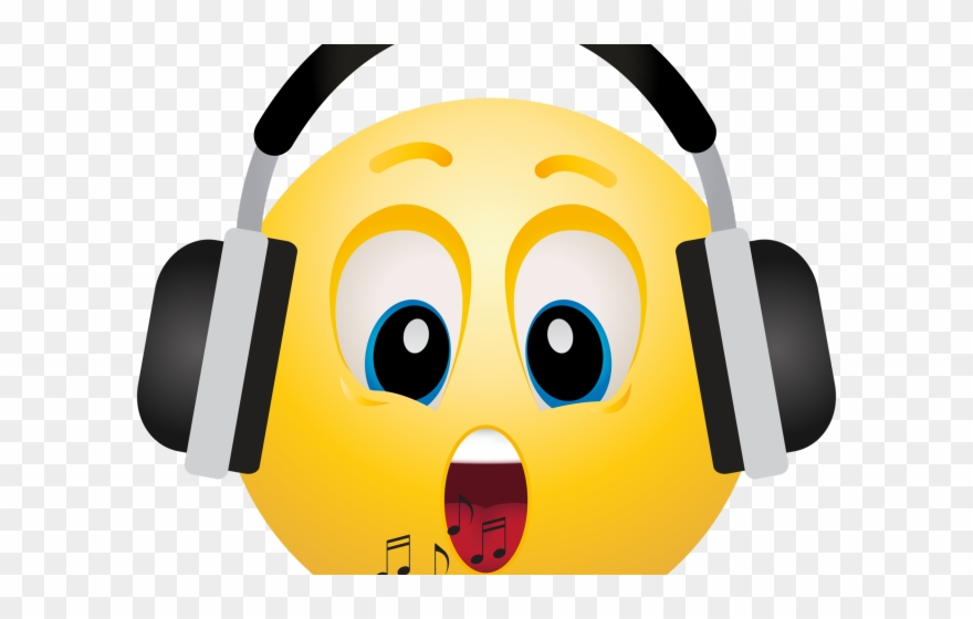 Smiley with headphones png. Headphone clipart face