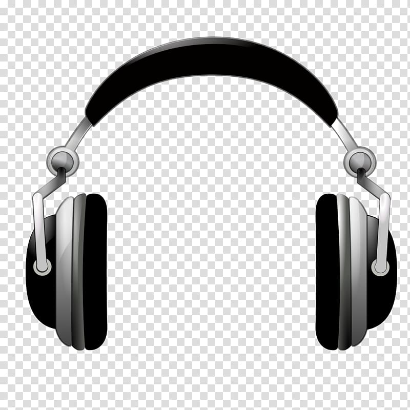 Black and gray wireless. Headphones clipart head phone