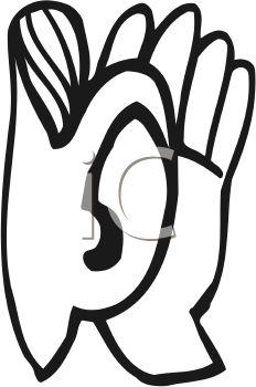 Ears clipart. Ear black and white