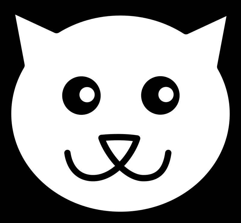 Line art medium image. Kitten clipart simple cat