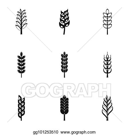 Wheat clipart simple. Drawing ears icon set