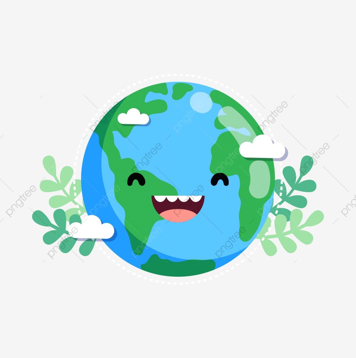 Lovely cartoon earth leaf. Environment clipart cute