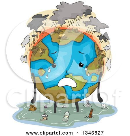 globe clipart polluted