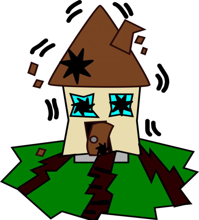 Seismic shakeup kids out. Earthquake clipart building structure