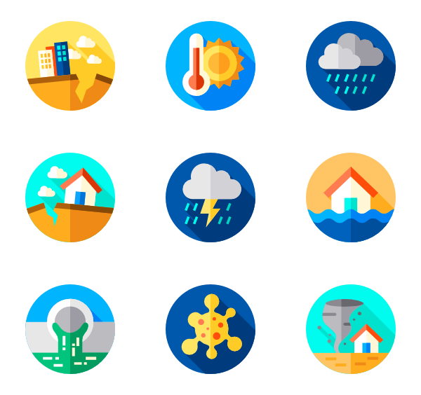 Natural disaster icons free. Earthquake clipart calamities