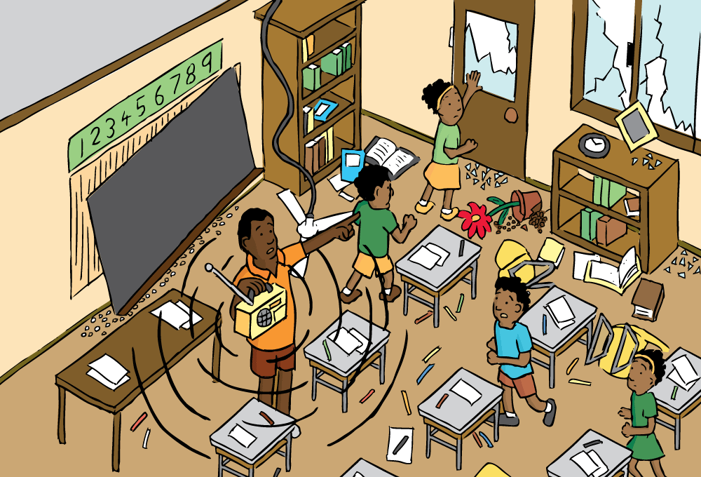 Earthquake clipart classroom. High angle cartoon of