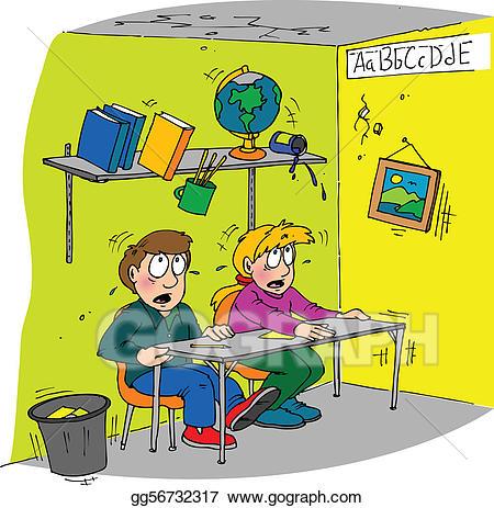 Earthquake clipart classroom. Eps vector stock