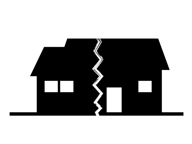 House disaster pictogram . Earthquake clipart collapse