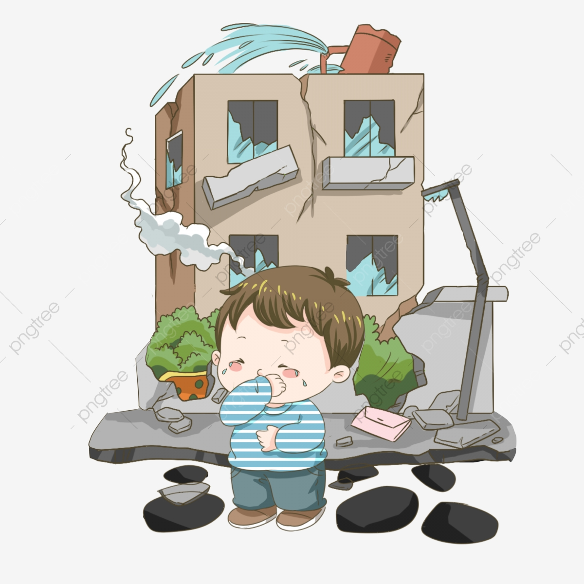 Earthquake clipart collapse. Disaster house panic