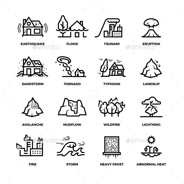 Natural disaster accidents line. Hurricane clipart hurricane damage