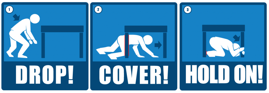 Drop on hour medical. Earthquake clipart duck cover hold