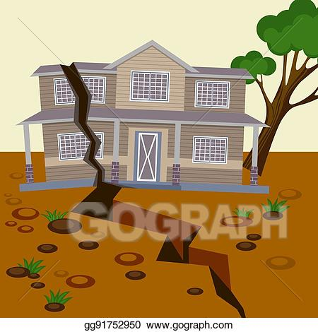Earthquake clipart earthquake house. Vector damaged and ground