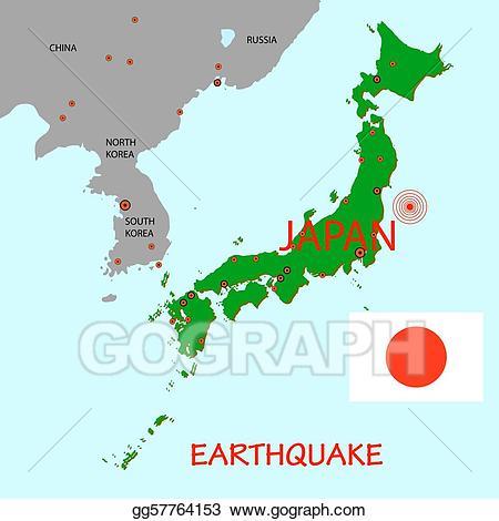 Vector stock japan map. Earthquake clipart epicenter