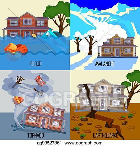 Hurricane clipart flood disaster. Clip art vector set