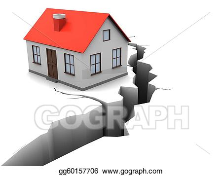 Stock illustrations gg . Earthquake clipart home thing