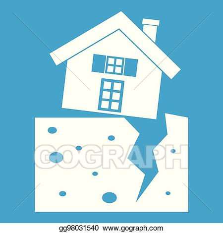 Earthquake clipart home thing. Eps vector house after