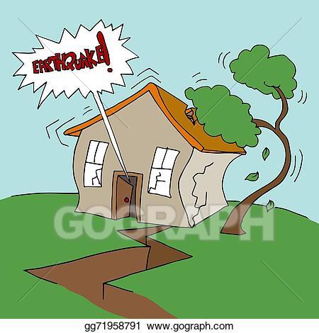 Vector property illustration . Earthquake clipart rundown house