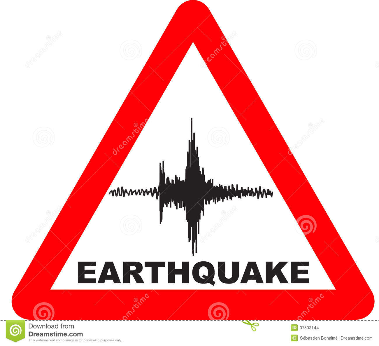 Warning sign stock panda. Earthquake clipart seismologist