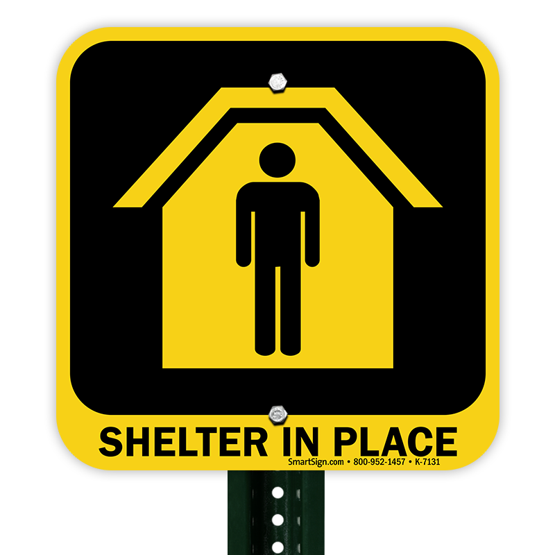 With graphic sign sku. Emergency clipart shelter in place