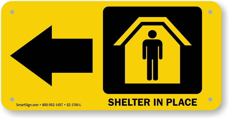 Signs earthquake tornado fallout. Emergency clipart shelter in place