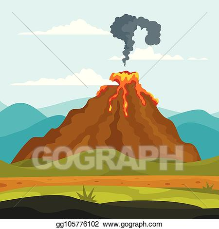 Earthquake clipart volcano. Vector eruption lava banner