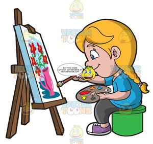 Easel clipart artistic girl. A painting still life